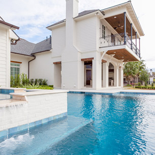 Custom Home built by Frantz-Gibson Construction Company in University Club with Pool and Outdoor Kitchen Patio-Baton Rouge, LA