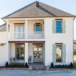 Custom Home built by Frantz-Gibson Construction Company in Willow Grove Subdivision Baton Rouge, LA Front Porch