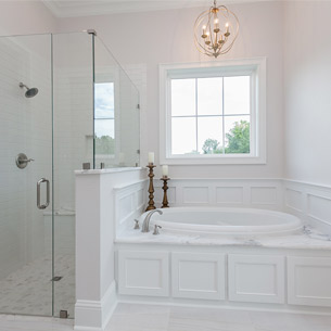 Master Bathroom Design with Marble, subway tile in custom home built by Frantz-Gibson Construction in Oakland Crossing in Prairieville, LA
