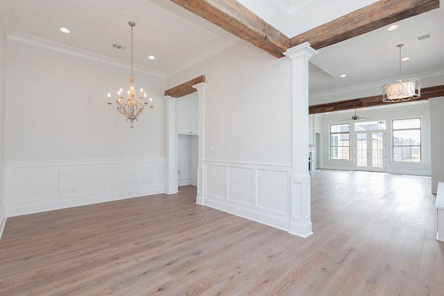 Frantz Gibson Construction Oakland Crossing Lot 39 Dining Room Capital Lighting 4440SQ-000 Adele Chandelier Cypress beams